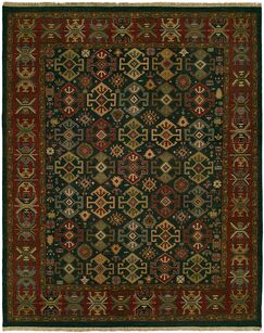 Lisbeth Flat Woven Wool Green/Red Area Rug Rug Size: Rectangle 12' x 18'
