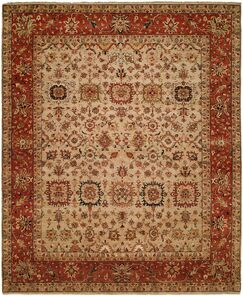 Massengill Hand Knotted Wool Ivory/Rust Area Rug Rug Size: Rectangle 6' x 9'