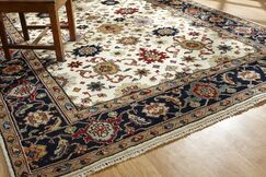 Anay Hand Knotted Wool Ivory/Black Area Rug Rug Size: Rectangle 10' x 14'