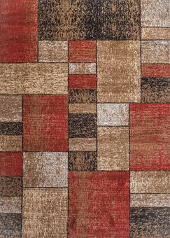 Clough Squares Red/Brown Area Rug Rug Size: Rectangle 3'3