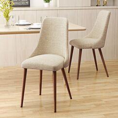 Doolin Mid-Century Upholstered Dining Chair Upholstery Color: Wheat