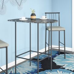 Myrtle Spacesaver Pub Table Color: Grey Marble with Charcoal Metal
