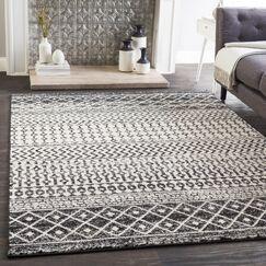Kreutzer Bohemian Charcoal/Ivory Area Rug Rug Size: Rectangle 5'3