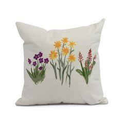 Laymon Flower Throw Pillow Color: Light Purple, Size: 16