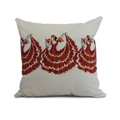 Drucker Dancers Throw Pillow Color: Red/Orange, Size: 16