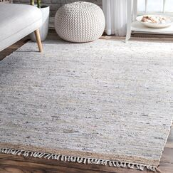 Linzy Flat Woven Cotton Gray Area Rug Rug Size: Rectangle 5' x 8'