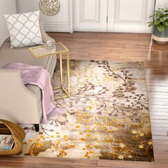 Anne Glamour Garden Taupe/Gold Area Rug Rug Size: 3'7