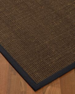 Kersh Border Hand-Woven Brown/Midnight Blue Area Rug Rug Size: Rectangle 8' x 10', Rug Pad Included: Yes