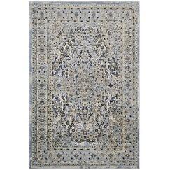 Prevost Ornate Vintage Floral Turkish Blue/Cream Area Rug Rug Size: 5' x 8'