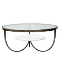 Hinman Iron, Glass and Marble Trio Coffee Table