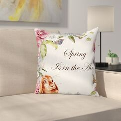 Rabbits Orchid Flowers Square Pillow Cover Size: 18