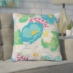 Guarani Floral Cotton Throw Pillow Color: Turquoise