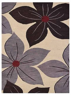 Camptown Floral Hand-Tufted Wool Cream Area Rug Rug Size: Rectangle 5' x 8'