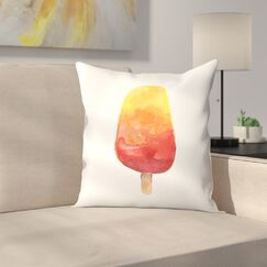 Jetty Printables Watercolor Popsicle 2 Throw Pillow Size: 14