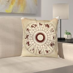 Astrology Zodiac Horoscope Sign Square Pillow Cover Size: 20