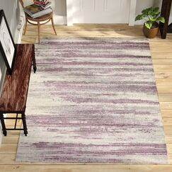 Tierra Stripe Ivory/Purple/Gray Area Rug Rug Size: 5'3