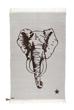 One-of-a-Kind Deerfin Elephant Hand-Woven Gray Cotton Gray Area Rug