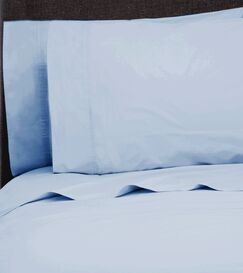 Ealing Pleat Hem 300 Thread Count Percale Sheet Set Size: California King, Color: Bay Blue
