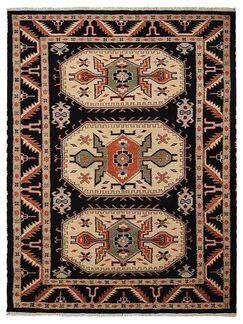 Corrin Hand-Woven Black/Cream Area Rug Rug Size: Rectangle 6' x 9'