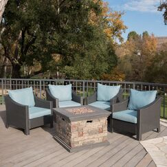 Orellana 5 Piece Conversation Set with Cushions Frame Color: Stone finished
