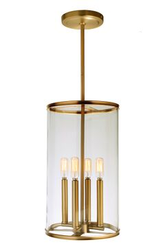 Gilford 4-Light Cylinder Pendant Finish: Satin Brass