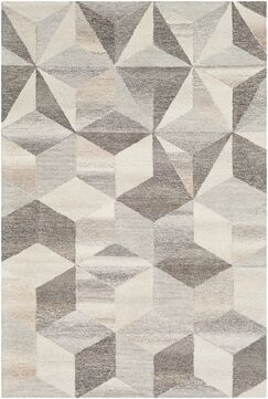 Canady Geometric Hand Hooked Wool Cream/Taupe Area Rug Rug Size: Rectangle 5' x 7'6