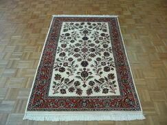 One-of-a-Kind Padro Sarouk Hand-Knotted Wool Ivory Area Rug