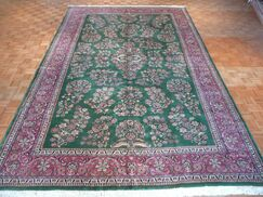 One-of-a-Kind Josephson Sarouk Hand-Knotted Wool Green Area Rug