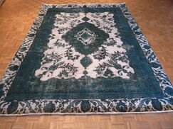 One-of-a-Kind Padro Hand-Knotted Wool Silver/Teal Area Rug