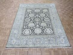 One-of-a-Kind Josephson Oushak Hand-Knotted Rayon from Bamboo Silk Brown Area Rug Rug Size: Rectangle 8'1