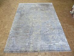 One-of-a-Kind Padang Sidempuan Modern Hand-Knotted Wool White/Blue Area Rug Rug Size: Rectangle 9' x 12'2