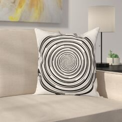 Fabric Abstract Art Spirals Square Pillow Cover Size: 24