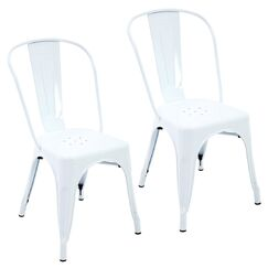 Feeney Stackable Indoor and Outdoor Rust-Resistant Metal Dining Chair Color: White