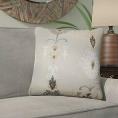 Gamble Ikat Cotton Throw Pillow Color: Mushroom