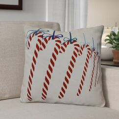 Candy Canes Throw Pillow Color: Teal, Size: 26
