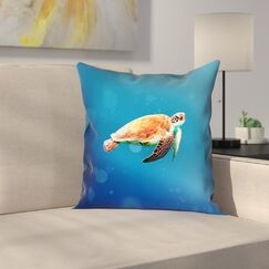 Sea Turtle Pillow Cover Size: 16