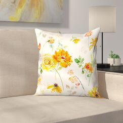 Blue Peony Throw Pillow Size: 14