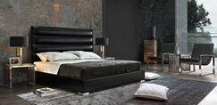 Bardot Channel Tufted Upholstered Panel Bed Color: Black, Size: California King