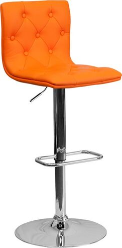 Outen Mid Back Tufted Adjustable Height Swivel Bar Stool Upholstery: Orange