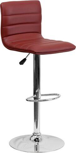 Whelan Mid Back Adjustable Height Swivel Bar Stool Upholstery: Burgundy
