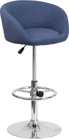 Whelan Round Low Back Adjustable Height Swivel Bar Stool Upholstery: Blue