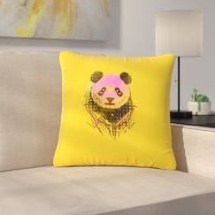 BarmalisiRTB Dandy Panda Outdoor Throw Pillow Size: 16