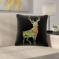 Suzanne Carter Paisley Deer Abstract Outdoor Throw Pillow Size: 16
