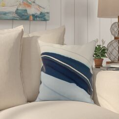 Crider Boat Bow Wood Print Indoor/Outdoor Throw Pillow Color: Blue, Size: 16