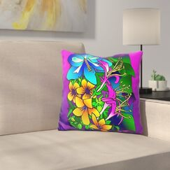 Kville Flowers Throw Pillow Color: Blue/Yellow