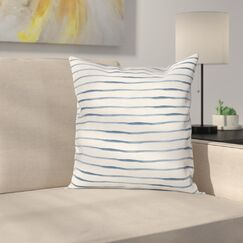 Stripe Abstract Ocean Square Cushion Pillow Cover Size: 18