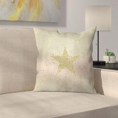 Golden Star Throw Pillow Size: 14