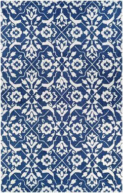Fairgrove Tulip Lattice Hand-Woven Blue/White Area Rug Rug Size: Rectangle 5' x 8'