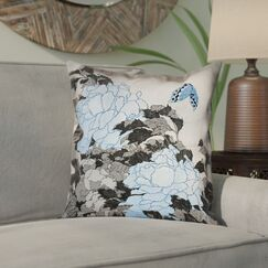 Clair Peonies and Butterfly Square Linen Pillow Cover Size: 18