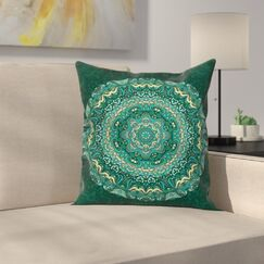 Eastern Indian Mandala Square Pillow Cover Size: 24